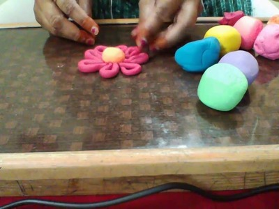 How to make a flower with clay doh, clay modeling,easr flower of clay for kids, clay idea for kids