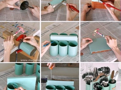 How To Make DIY Silverware Caddy Tin Cans