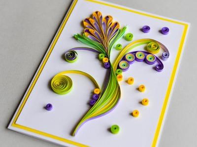 How to Make - Greeting Card Quilling Flower - Step by Step | Kartka Okolicznościowa