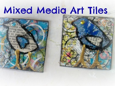 How to make mixed media art tiles Birds