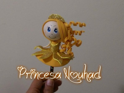 How to make Pencil Topper (Princesa  Nouhad) with foam ¿Cómo hacer la muñeca fofucha