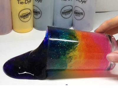 How to make sparkly rainbow colored slime with glitter and tie dye.learn colors. DIY