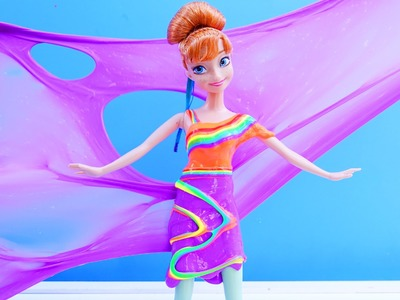 SLIME CLAY DRESS Rainbow Anna DIY How To Make Frozen Anna Slime Foam Dress