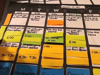 Weekly Planning System - How I Keep Track of Children's Activities - Post It Note Weekly Planner