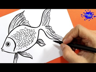 Como dibujar un pez   how to draw fish   Easy art