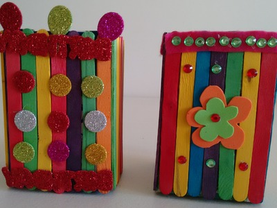 Craft Idea- How to make beautiful box from icecream sticks