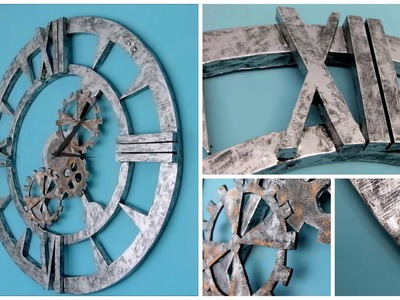 DIY wall clock industrial decor style - How to make steel effect - Isa ❤️