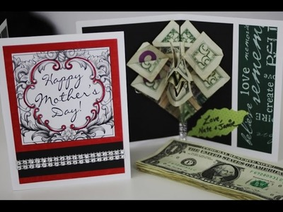 GIFT IDEAS - How to make a money rose pop-up card, origami