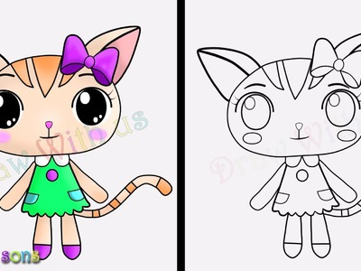 How to Draw a Cartoon | Little Kitten | Draw with us nursery rhyme by Sager Sons
