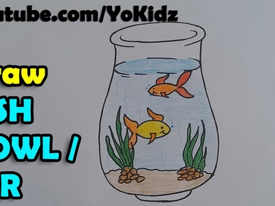 How to draw a Fish Bowl. Tank. Jar step by step