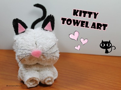 How to make a Kitty Towel Art - Video Tutorial. Como hacer un Gatito con Toalla