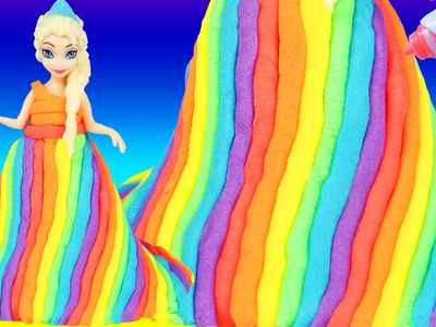 HOW TO MAKE Dohvinci Frozen Elsa Rainbow Dress Play Doh