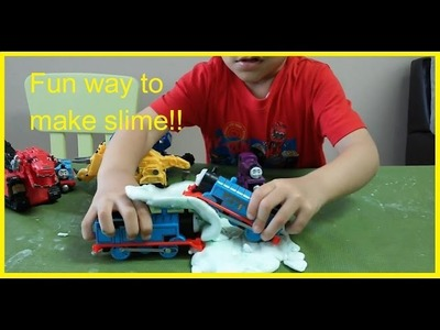 How to make slime - Easy Science Experiments for kids with Awesome Thomas and Friends Trains