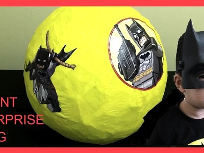 Kids crafting - How to make a Giant Surprise Egg with Lego Batman toys inside DIY Kids crafting