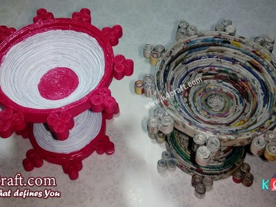 "Learn How to make Newspaper ""Candle and Diya Stand"" at Home - K4Craft.com"