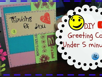 DIY: How to make Easy Greeting Card Under 5 minutes!!