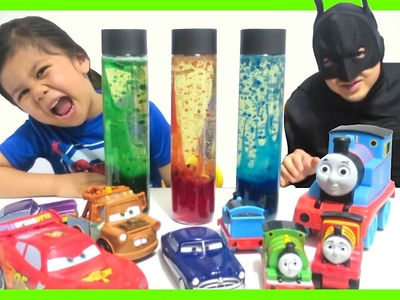 Homemade Lava Lamp Easy Science Experiments for kids with Thomas & friend   Disney Cars Toys