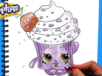 """How to Draw Shopkins Season 5 """"Creamy Cookie Cupcake"""" Step By Step Easy 