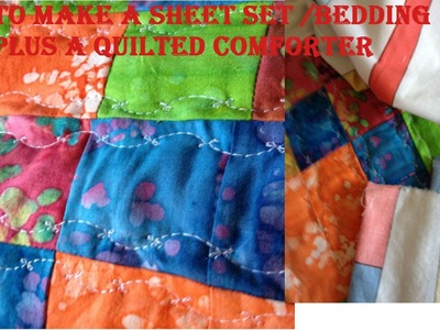 How to make a Barbie doll size sheet set. doll beding plus a quilt (doll craft)