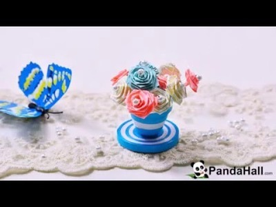 How to Make a Blue Quilling Paper Flower Pot and Flowers for Home . . .