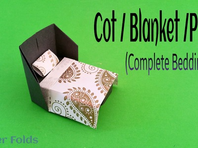 """How to make a Paper """"Cot. Blanket. Pillow"""" (Complete Bedding) - Origami Tutorial"""