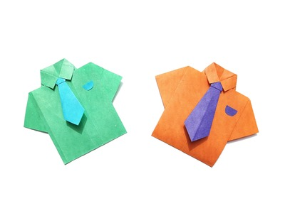 How to make a Paper shirt and tie? (easy origami)