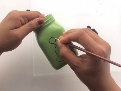 How to make a pen.pencil holder from old glass jar.Glass jar pencil holder DIY
