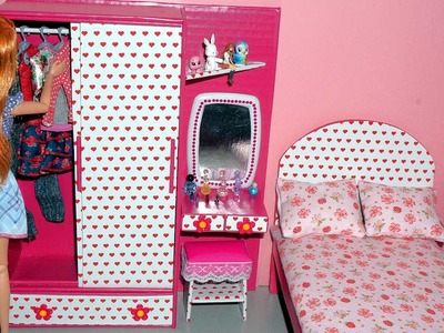 How to make a wardrobe with a dressing.vanity table for dolls - miniature crafts DIY