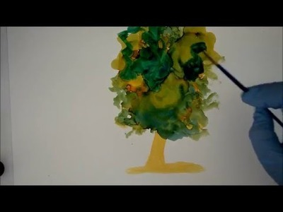 How to Paint a Tree using Alcohol Ink on Yupo -  Create Texture and blend Inks