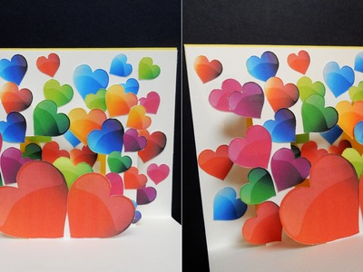 Pop up card (heart surprise) - learn how to make a greeting card with bursting hearts - EzyCraft
