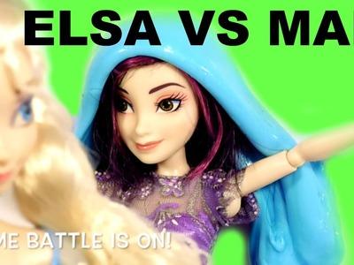 SLIME BATTLE DISNEY MAL VS. FROZEN ELSA HOW TO MAKE SLIME