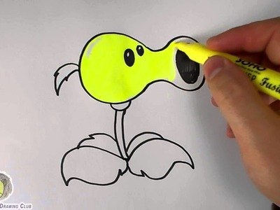 How To Draw A Peashooter Easy (Plants vs Zombies) – Mr. Cute Cartoon Drawing Club