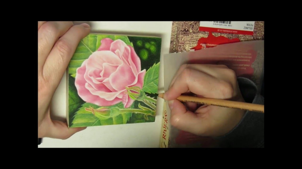 How to draw a rose with colored pencils on wood.