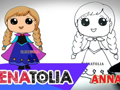 How To Draw ANNA from Frozen Step by step | So Cute| Cute and Easy with ELENATOLIA ★