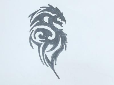 How to draw dragon tribal tattoo