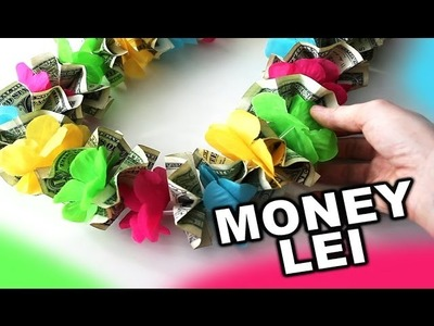 How to make a money lei for graduation with colorful flowers