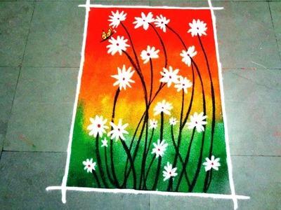 How to make beautiful flowers  poster rangoli design