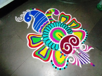 How to make peacock fancy rangoli design