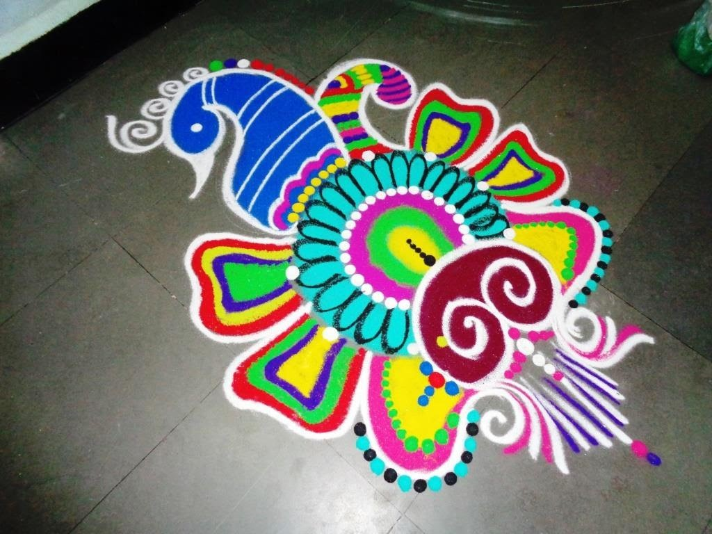 How to make peacock fancy rangoli design for Home made rangoli designs