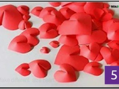 How to make red heart with paper for wall decor