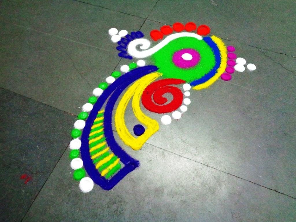 How to make small easy fancy beautiful rangoli design for Home made rangoli designs
