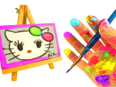 How to Paint.Draw Hello Kitty Crayola Neon Paint for Kids Hello Kitty Canvas Paint Glitter DTC