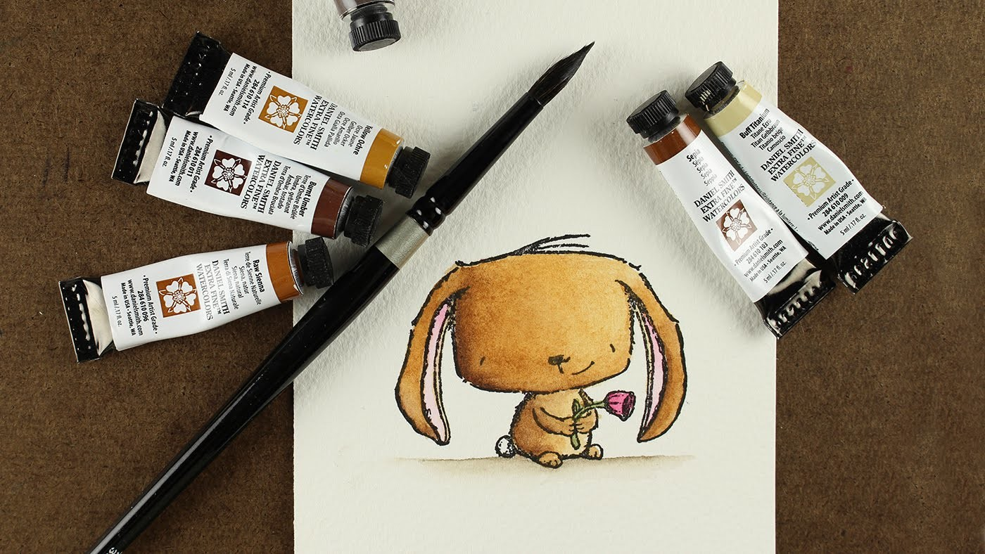 How to watercolor a brown bunny