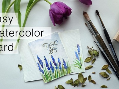 How To: Watercolor Thank You Card   Speed Painting