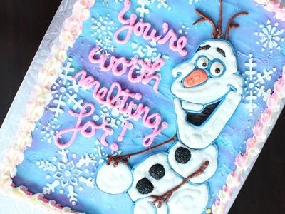Olaf Cake - How to make an easy buttercream Olaf birthday cake