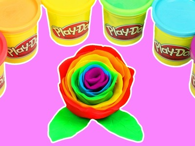 Rainbow Play Doh Rose DIY Fun & Easy How to Make Beautiful Rainbow Rose Flower!