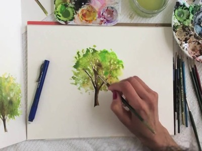 Watercolor tree - how to paint a tree in watercolours