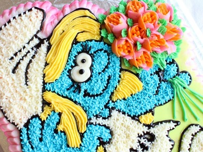 Buttercream Smurfette Cake - How to make a Smurf's cake - Star Tip Cake Decorating