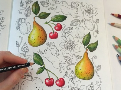HOW I COLOR A CHERRY | Blomstermandala Coloring Book | Coloring With Colored Pencils
