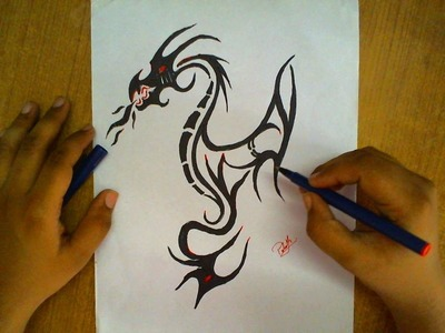 How to Draw a Dragon Tattoo 3D Art Drawing
